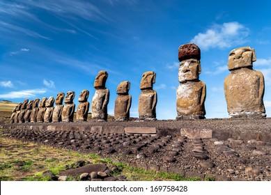 Moais at Ahu Tongariki, Easter Island (Rapa Nui), Chile.