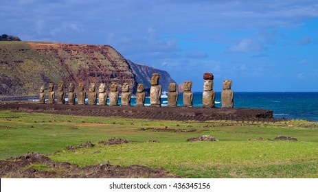 Moais on Ahu Tongariki, Easter Island, Chile. This ahu is the greater in Easter Island and the taller moai is about 12 metres high.