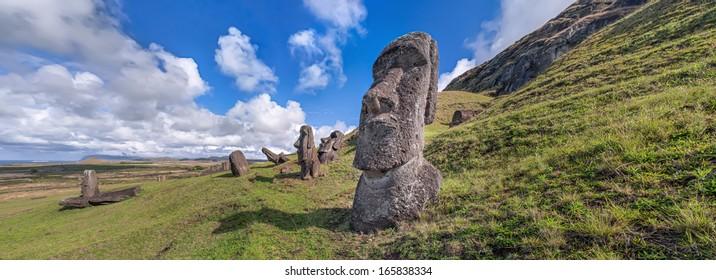 Moais at the quarry of Rano Raraku, Easter Island (Rapa Nui), Chile.
