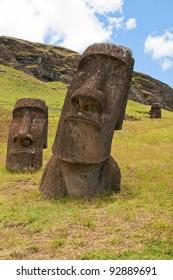 Moais at Rano Raraku, Easter island