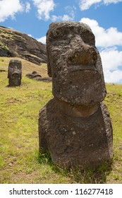 Moais at Rano Raraku volcano, Easter island (Chile)