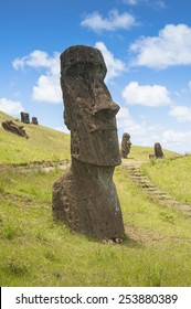 Moais of Rano Raraku volcano, Easter island (Chile)