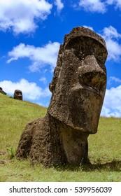 Moais of Rano Raraku volcano, Easter island. Chile