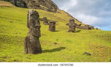 Moais at Rano Raraku volcano, Easter island, Chile
