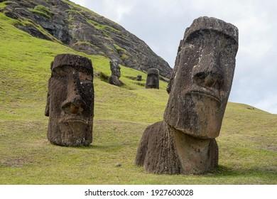 Moais at Rano Raraku volcano's slopes at Easter Island, Valparaiso, Chile. - Shutterstock ID 1927603028