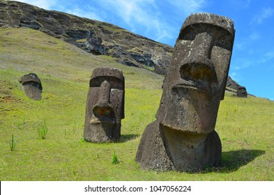 Moais in the slopes of Rano Raraku volcano, Rapa Nui (Easter Island)