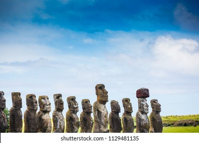 Moais statues on Ahu Tongariki - the largest ahu on Easter Island. Chile