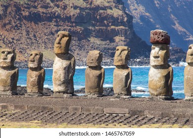 The moais stone platform of Ahu Tongariki on the south coast of Easter Island. Easter Island, Chile