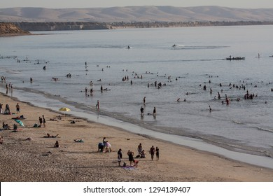 MOANA BEACH, ADELAIDE, SOUTH AUSTRALIA, 24 JANUARY 2019; Hottest day on record at 46.4 Degrees, people crowd the beach at 8.30 pm.