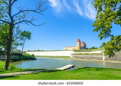 Moat around the majestic Kuressaare Castle in Saaremaa, Estonia