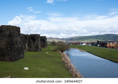 Moat between medieval castle and town, Caerphilly Wales