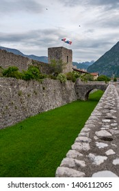 Moat and City Walls with San Genesio ancient door. Venzone, Northern Italy. It has been fully restored after the May 6th, 1976 earthquake.