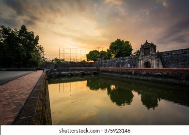 The moat at Fort Santiago at sunset, in Intramuros, Manila, The Philippines.