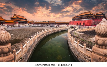 A moat runs through the center of the Forbidden City in Beijing, China.
