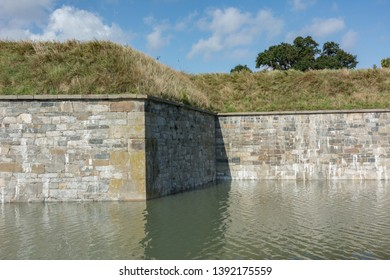 Moat stonework detail around the outer perimeter of Fort Monroe, Hampton, Virginia