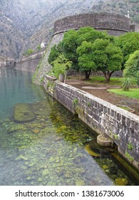 Moat surrounding fortifications in Kotor, Montenegro