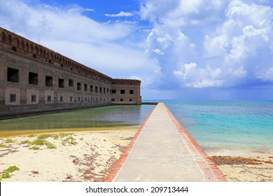 A moat wall affords a half-mile walk around the circumference of Fort Jefferson in Dry Tortugas National Park, Florida.