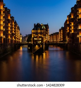 "The moated castle ""Wasserschloss"" in Hamburg at blue hour"