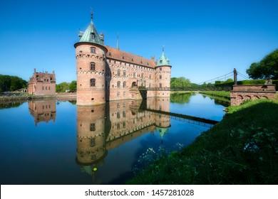 The Moated Egeskov Castle on Funen Island, Denmark