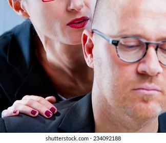 mobbing AKA woman tormenting a man on workplace