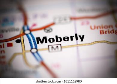 Moberly. Missouri. USA on a geography map