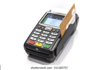 Mobil Credit card machine isolated on white background.