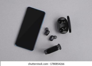 Mobile Accessories Arrangement - smart watch band Black Wireless Headphones Wireless Headphones Android Mobile top blank