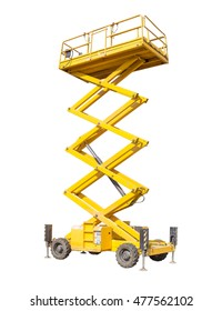 Mobile aerial work platform - yellow scissor hydraulic self propelled lift on a light background.