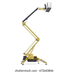 Mobile aerial work platform - Yellow scissor hydraulic self propelled lift on a white. Side view. 3D illustration, clipping path