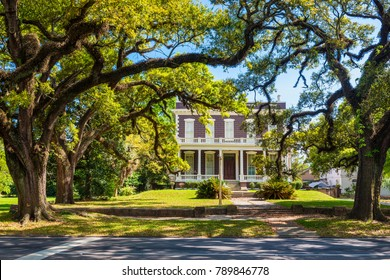 Mobile, AL, USA - April 3, 2015: Typical old house with columns in downtown district of Mobile, Alabama, USA.