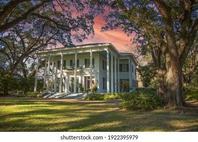 Mobile, Alabama - 10-27-2013:  A southern mansion ayt sunset in Mobile, Alabama