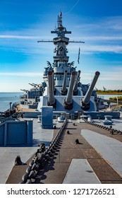 Mobile, Alabama - 10/27/2013:  USS Alabama (BB-60), a South Dakota-class battleship.  It was commissioned in 1942 and served in World War II
