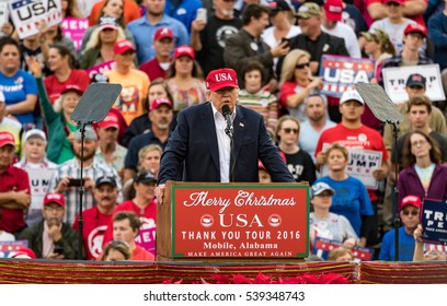 """Mobile, Alabama - 12/17/2016.  US President-Elect Donald J. Trump speaks to a crowd at Ladd-Peebles Stadium during his """"Thank You Tour""""."""