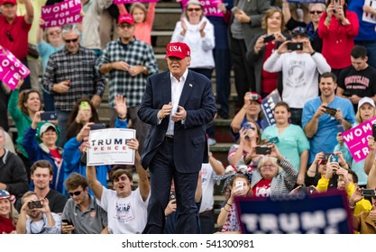 "Mobile, Alabama - 12/17/2016:  US President-Elect Donald J. Trump on stage at Ladd-Peebles Stadium during his ""Thank You Tour""."