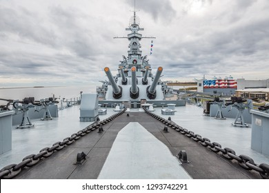 Mobile, Alabama, United States - December, 2018 USS: Alabama warship (BB-60), 360 VR armed artillery anti aircraft deck of this South Dakota - class battleship in Museum in MOBILE, USA