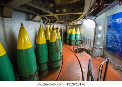 Mobile, Alabama, United States - December, 2018 USS: inside Alabama warship (BB-60): magazine in Museum - USS ALABAMA Battleship Memorial Park in MOBILE, USA