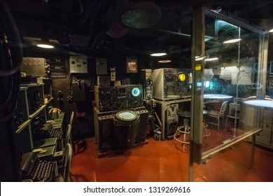 Mobile, Alabama, United States - December, 2018 USS: inside Alabama warship (BB-60): combat information centre and damage control rooms in Museum - USS ALABAMA Battleship Memorial Park in MOBILE, USA