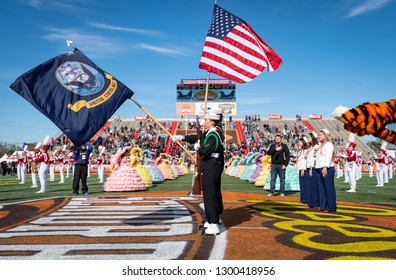 Mobile, Alabama / USA - 01/26/2019: The National Anthem is performed by the University of Alabama Million Dollar Band during pre-game ceremonies of the 2019 Reese's Senior Bowl.