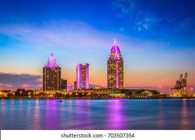 Mobile, Alabama, USA downtown skyline on the river.