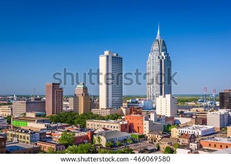 Mobile Alabama Usa Downtown Skyline Stockfoto Jetzt Bearbeiten