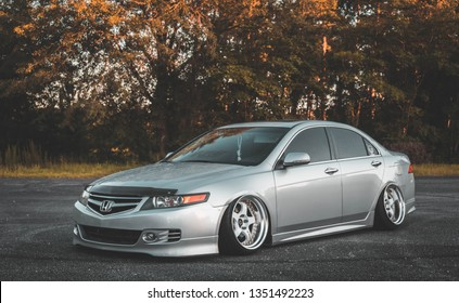 Mobile, Alabama/ USA June 24th 2018 : 2006 Acura Tsx with JDM Honda Euro R Conversion On Work Meister wheels. Stance