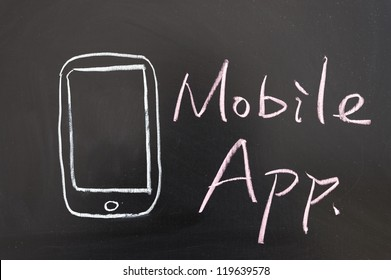 Mobile app concept drawing drawn on the blackboard