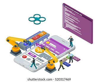 Mobile App Development, Experienced Team. Flat 3d isometric white phone. Manipulator robot robotized. Online store. Web development and UI design concept. Html code to the screen. Raster Image.