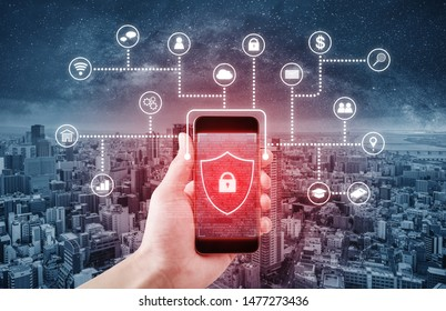 Mobile application and online data security system technology. Hand using mobile smart phone with lock and application icon