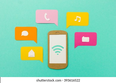 Mobile apps and tools for communication (chat, email, phone) and entertainment (music player, camera) on smartphone