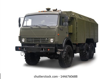 Mobile automotive kitchen PAK-200M-04 on the chassis of a KAMAZ truck is in service with the Russian Army. Isolated on white background