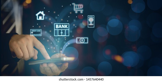 mobile banking network. business people using mobile phone with icon application online payment.