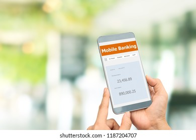 Mobile Banking Network. People use smartphones to check their online payment account.