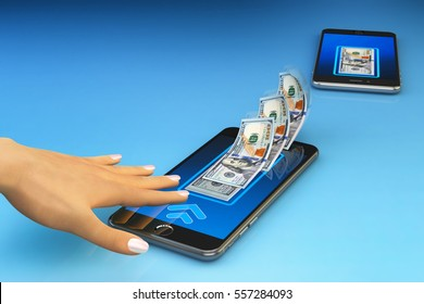 Mobile banking online payment, wireless money transfer and e-wallet concept, human hand sends dollar bills from the screen of the smartphone app to another device, blue background, 3d illustration