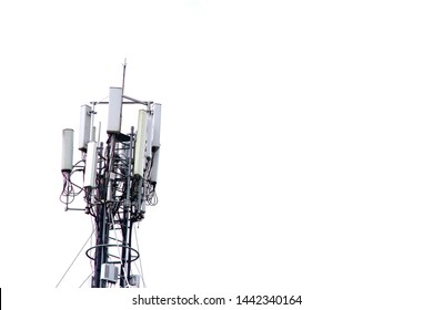 The mobile base station with blank background. The concept of undesirable  infrastructure, not in my back yard (NIMBY) effect.